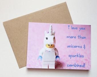 Love Unicorn Lego Card