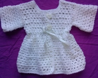 Adorable Bohemian style Baby Girl's white Crocheted Cardigan/Jacket 0-3 Months Size 000 (approx)