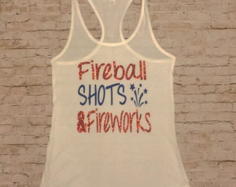 Fireball and Fireworks Fourth of July Tank Top with Red Glitter