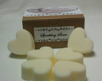 Creamy, natural color, Sparkling Snow scented soy wax tarts, melts