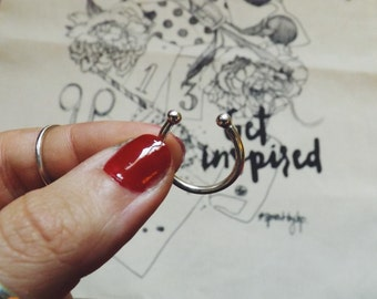 Silver ring open style piercing / handcrafted