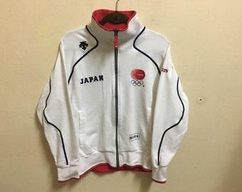 Vintage 90's Descente Japan White Sport Classic Design Skate Sweat Shirt Sweater Varsity Jacket Size L #A483