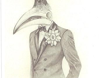 Bird Man - 12 x 17 inch - man in style - chic - Suits - Hornbills