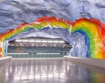 Stockholm, Sweden, Subway, Rainbow, Colorful, Mural, Scandinavia, Stadion, Wall Art, Travel Photography, Photograph, Prints, Fine Art