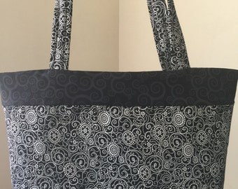 Tote, handmade, black and white