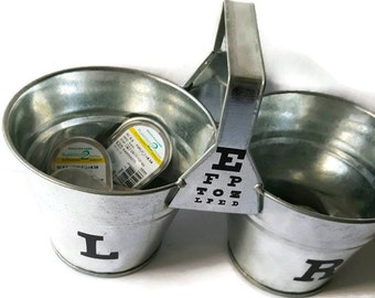 Organize your contact lenses in these custom designed buckets. Large letters make it easier to