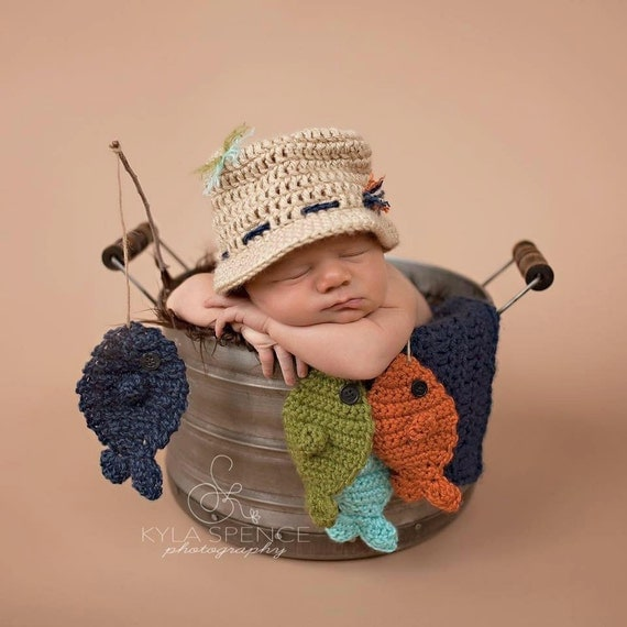 Awesome Baby Images: Crochet Fisherman Hat Baby Fishing Hat Newborn Photo Prop