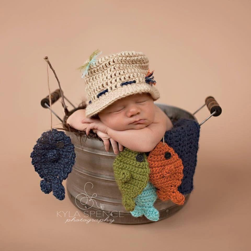Crochet fisherman hat baby fishing hat newborn photo prop for Toddler fishing hat