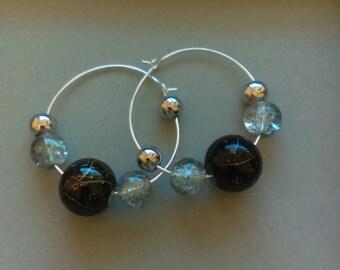 Black with gold swirls hoop earrings