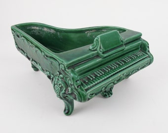 Vintage Grand Piano Planter Mid Century Art Pottery Green