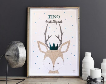 Deer poster customized with Crown in gilding & name in gilding - customizable - gilding - colour-decorating - child - room