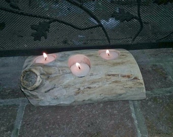 Wood 3 candle holder