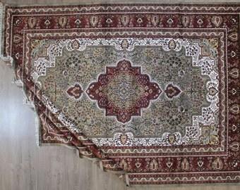 7.10 ft x 10.5 ft Persian Kashan Rug Bamboo Silk