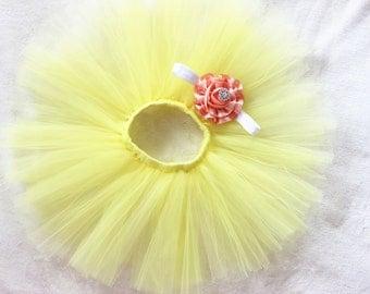 Newborn tutu set, yellow tutu set and matching crown headband, newborn baby girls photo prop