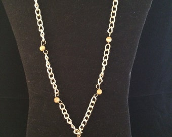 Gold Beaded Skull Necklace