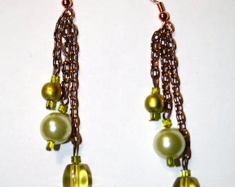 Green Tri-Stone Copper Chain Earrings