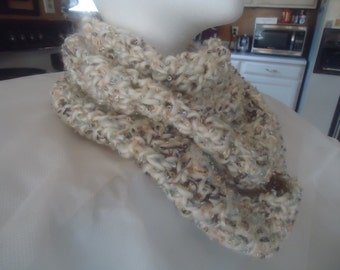 Handmade crocheted off white and multi scarf