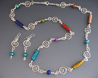 Sterling SilverTube Dichroic Bead Wrap/Swirl Necklace and matching earrings