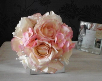 pink wedding bouquet ivory bouquet pink ivory bouquet brides bouquet rose bouquet hydrangea flower bouquet silk bouquet  pearls