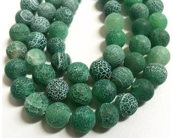 8mm Frosted Agate Beads, Green Agate Beads, Round Beads, Gemstone  Beads