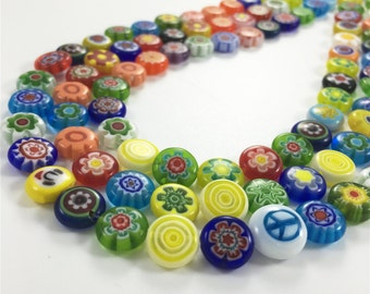 10mm Multicolor Glass Beads, Flat Round Flower Beads