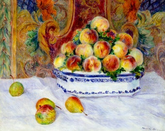 Renoir 1881, Still Life with Peaches, HD Canvas Print or Art Print, Decor Artwork Wall Poster French Impressionism Pierre-Auguste Renoir