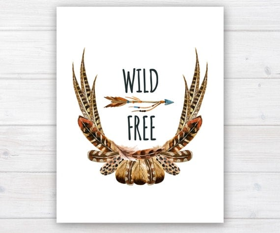 watercolor printable, bohemian art, boho printable, tribal art, feather watercolor, bohemian printable, feather wreath, wild and free, brown