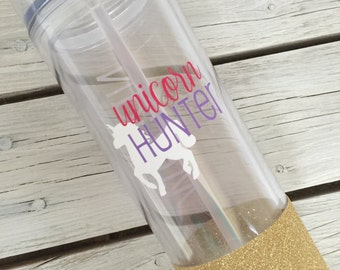 Unicorn Hunter Tumbler Skinny Tumbler with Straw - LuLaRoe - Glitter-Dipped Available! - Personalization Available!