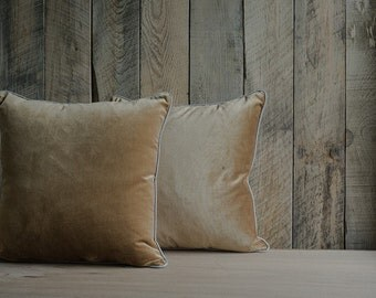 Gold Silk Velvet Throw Pillows