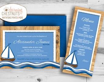 NAUTICAL BAPTISM INVITATION, printable invitation, personalized invitation, nautical blue, boat invitation, wood