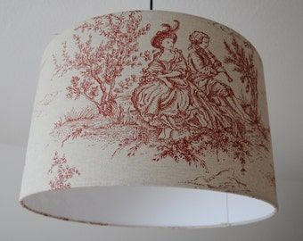 "Ceiling lamp ""Toile de Jouy"" (red)"