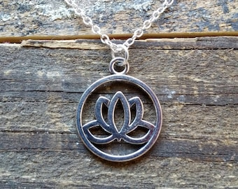 Lotus Flower Necklace, Lotus Necklace, Silver Pendant, FREE SHIPPING