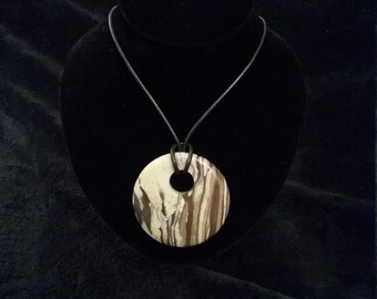 Natural Brown Picture Jasper and Leather Necklace