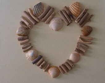 Driftwood, Pebble and Shell Art - 'Beach Heart'