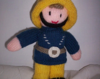 Hand Knitted Fireman Toy  - Fireman Knitted Toy