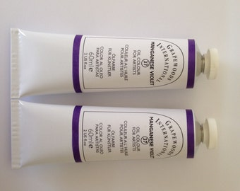 Manganese violet oil paints(2 new handmade oil color tubes,60ml each)