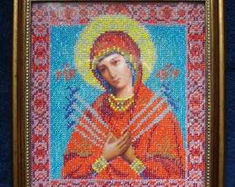 Handmade beaded embroidered icon the Consoler