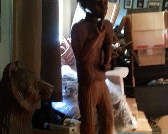 Large 5 ft carved statue hat and pipe