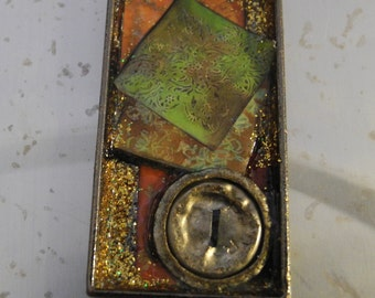 Collage Pendants - rectangular brass