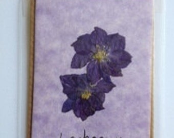 Handmade Pressed Flower Gift Card 'Larkspur' Design