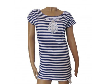 Russian Women's striped Dress - Tunic with Blue stripes