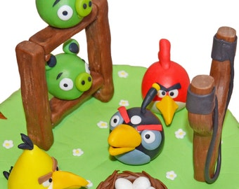 Angry Birds fondant cake topper set. Edible figurines of Angry Birds