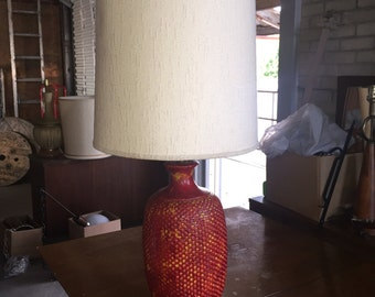 Mid Century Modern Large Speckle Glazed Lamp with Original Shade.
