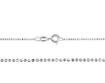 1mm Sterling Silver Diamond Cut Bead Chain Necklace - 18 inches