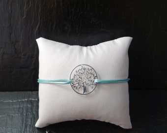 Tree of life silver bracelet and cord blue waxed polyester