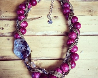 Red Soapstone and Jasper Stone Necklace