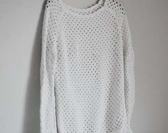 Crochet Sweater/ White