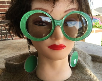 NOS 1960's Hippie Flower Child Mod Bright Green Vintage Sunglasses with Earrings on Chain