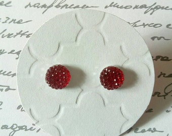 Ruby Red Multi Faceted Rhinestone Studs- Surgical Steel Posts