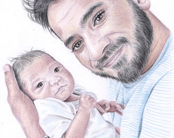 A5 Custom Coloured Pencil Portrait Commission - Baby Child Family Pet Buildings - by Karena Higton